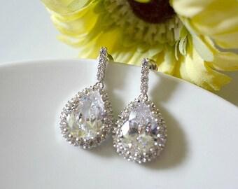 Bridal Crystal Drop Earrings, Serial Flowing CZ Stones Ear Posts With Cubic Zirconia Teardrops, Bridal Earrings, Bridesmaids Earrings
