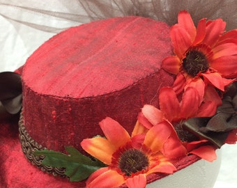 Small Victorian Riding Hat - Red Silk Sweetheart Steampunk Fascinator OOAK