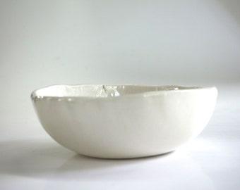 off-white ceramic bowl , handmade
