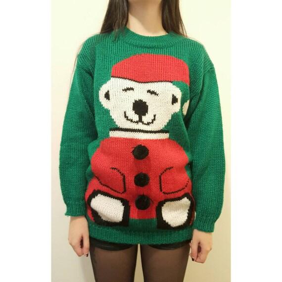 80s Christmas Sweater Small Teddy Bear Sweater - Green Holiday Ugly Christmas Sweater Top - Medium Xmas Stuffed Animal Holiday Winter Top