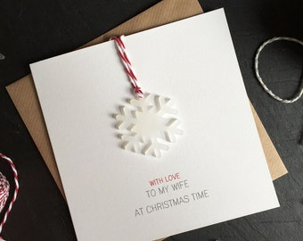 With Love to my Wife at Christmas Time // Christmas Card with Frosted Perspex Snowflake Tree Decoration