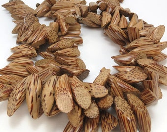 Wood Beads, Wood Log Beads, Natural Coconut Palm Tree Wood Beads, 16 inch Strand 26x9mm Sliced Tube Beads, Beading Supplies, Item 866wb