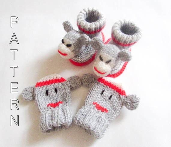 Easy Sock Monkey Knitting Pattern : Knitting Pattern Sock Monkey Baby Booties and by WistfullyWoolen