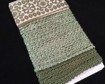 Multi Pack of Green Braided & Machine Embroidered Trim - 3 Pieces Over 7 Yards Total