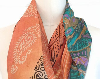 Infinity Scarf vintage sari silk teal/orange