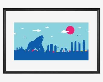 Madrid Skyline Print, King Kong inspired print, Madrid Spain, Madrid print, Madrid art, Madrid poster, Madrid gift, Madrid real art, Gorilla