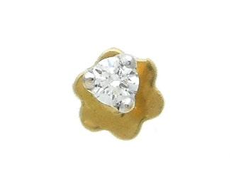 18k Yellow Gold G VS 0.02 Ct Round Natural Diamond Handmade Nosescrew Nosepin