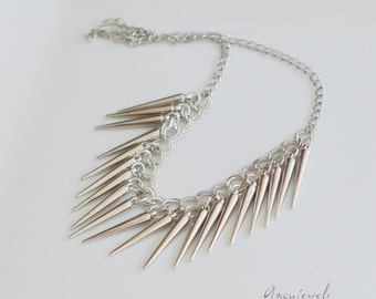 Simple silvered spike necklace