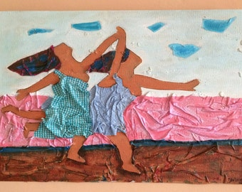 Running women 60 x 42 cm acrylic with fabric on wood