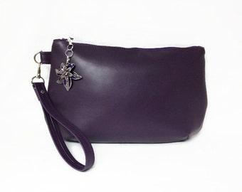Purple Vegan Leather Large Size Clutch With Zip Top, Purse Charm, Purple Handbag, Evening Bag, Purple Clutch With Detachable Wrist Strap