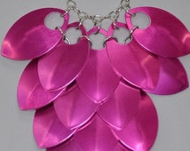 Scale Maille, Bridesmaid Wedding Jewellery, Adult Costume Accessory, Pink Statement Necklace