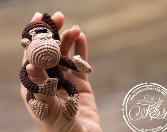 Crochet monkey stuffed animal with wire frame, monkey amigurumi doll, toy monkey, monkey nursery decor