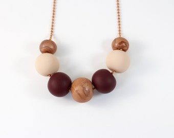 Copper and Burgandy Clay Necklace