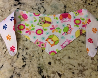 Tie-on Dog Bandana in Owl and Pawprint - XSmall and Small