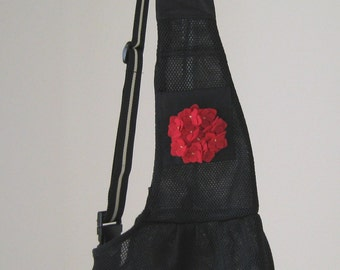 Adjustable Black Dog Sling - Sling Style Pet Carrier, Puppy Carrier, Cat Travel Bag, Pet Car Seat, Dog Pouch, Mesh Pet Sling