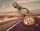 Route 66 Key Ring with Swivel Clip, Route 66 Highway Road Sign Key Ring, Road Trip, Nostalgic Key Ring, Route 66 Key Fob