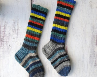 Knit Wool Socks Hand Knit Mens Grey White by ...
