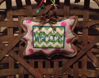 Welcome burlap door hanger