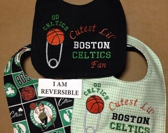 REVERSIBLE Boston Celtics Baby Bib; Cutest Lil' Celtics Fan; Handmade bib, cute bib,Basketball Diaper pin Embroidery, may be personalized