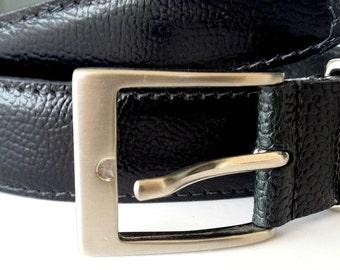 Black leather belt , Black belt , Mens leather belt