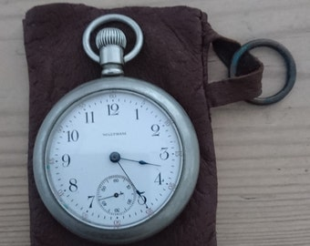 Large vintage Waltham pocket watch and pouch