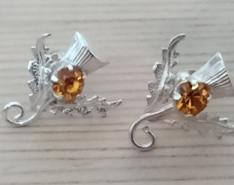 vintage sterling silver Scottish Thistle earrings with orange stone