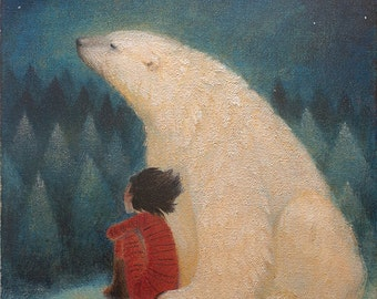 "Limited edition giclée print of original painting by Lucy Campbell - ""Mondays' bear"""