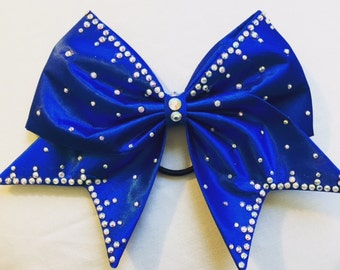 Royal Blue satin bow with AB crystal rhinestones
