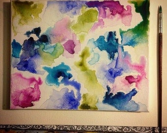 Under the microscope- original watercolor painting on canvas