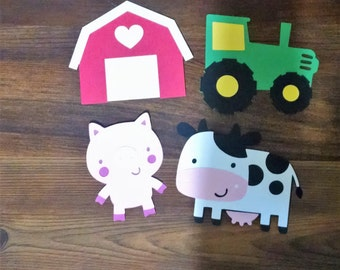 8 Farm theme 5 inch cardstock die cut shapes