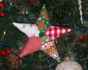 "Colorful Patchwork Star Ornament 5"" diameter"