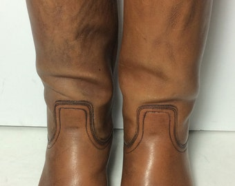 Frye 2278 Campus Brown Leather Vintage 70's Biker Riding Motorcycle Boots Men's Size 8.5
