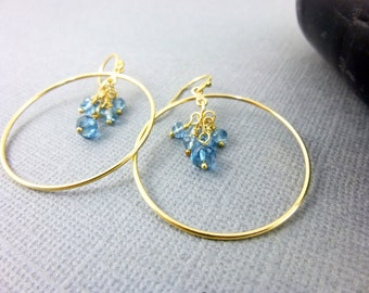 London Blue Topaz Earrings, November Birthstone Earrings, Chakra Earrings, Gift for Her, 14K Gold Fill Hoop Earrings