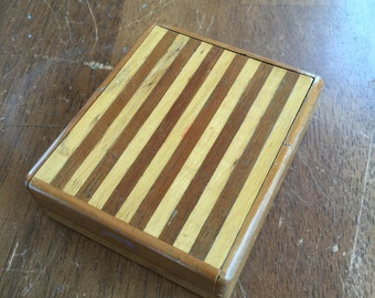Vintage Wood Cigarette Holder With Sliding Door