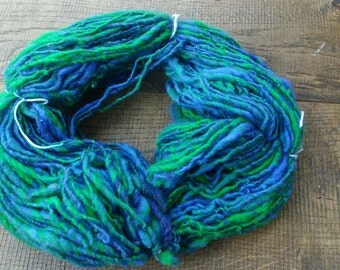 handspun wool blue green