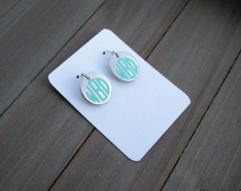Initial earrings, personalized drop earrings, monogrammed earrings, silver earrings, monogram earrings, bridesmaid gift, gift for her