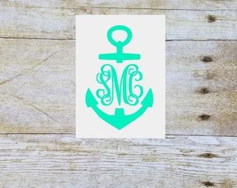 Anchor yeti decal, anchor car decal, monogram sticker, name decal, monogram car decal, yeti tumbler decal, monogram decal, vinyl monogram