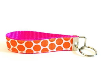 Orange Polka Dot Personalized Key Fob