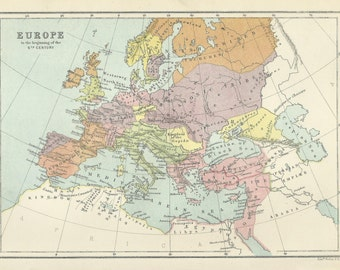 Europe in the 6th Century Antique Map 1876 Cartography Vintage Map Home Decor Print Wall Art
