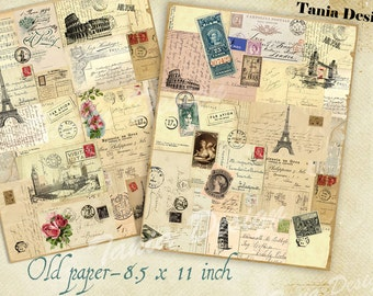 OLD LETTERS - Digital Collage Sheet  - 8.5 x 11 inch inch size Images Printable download for decoupage,greeting cards, vintage background