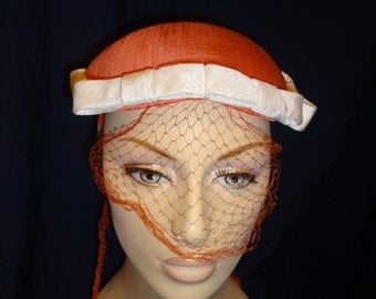 1950s Orange Pillbox Hat with Veil