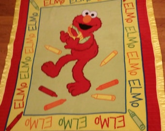 Multicolor Color Me Elmo Sesame Street Double-Sided Fleece Blanket (Ready To Ship)