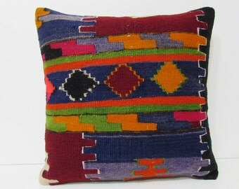 kilim pillow 20x20 upholstery fabric geometric throw pillow cover country decorating indie cushion primitive decor wedding pillow case 25909