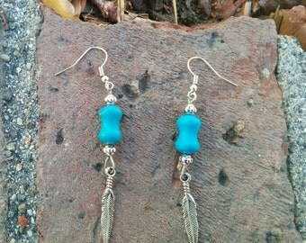 Earrings chalk turquoise and pewter feather