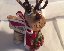 Wine cork craft holiday Christmas bottle toting wine cork reindeer ornament