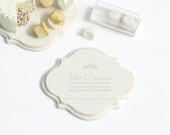 Dollhouse Miniature Accessories-Decorative Wooden Plaque/Serving Platter-ONE- Pattern II