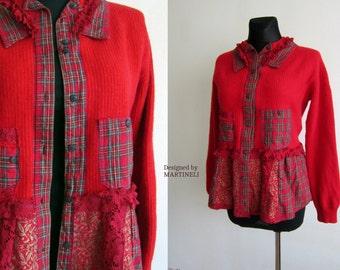 Red Recycled Sweater Reconstructed Sweatshirt Flannel Recycled Sweater Boho Top Cashmere Sweater Patchwork Tunic Checker Tunic Boho Tunic
