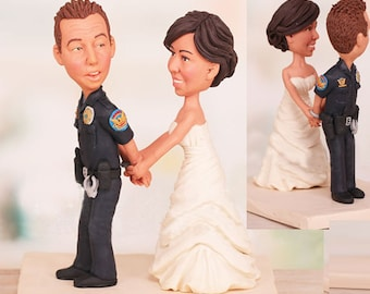 Personalised wedding cake topper - Police officer theme (Free shipping)