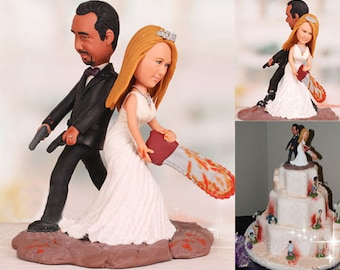 Personalised wedding cake topper - Zombie Wedding Cake Toppers Groom Holding Pistols Bride Wielding Chainsaw (Free shipping)