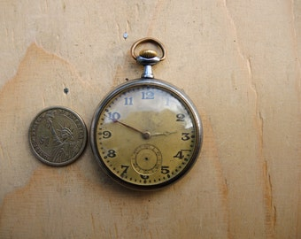 Antique pocket watch RODE Watch Co for parts - Steampunk supplies - Pocket Watch - Watch movement with dial - Steampunk art supply Pw14